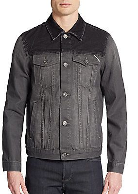 $53, Charcoal Denim Jacket: Corduroy Trim Denim Jacket by Cult of Individuality. Sold by Off 5th. Click for more info: http://lookastic.com/men/shop_items/242672/redirect