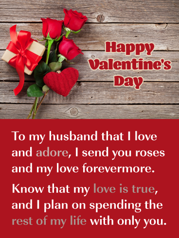 My Love Is True Happy Valentine S Day Card For Husband Birthday Greeting Cards By Davia Happy Valentine Birthday Greeting Cards Husband Birthday