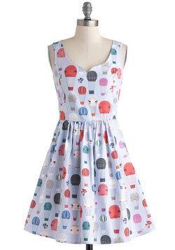 cute hot air balloon pattern and cute dress shape! from modcloth.com