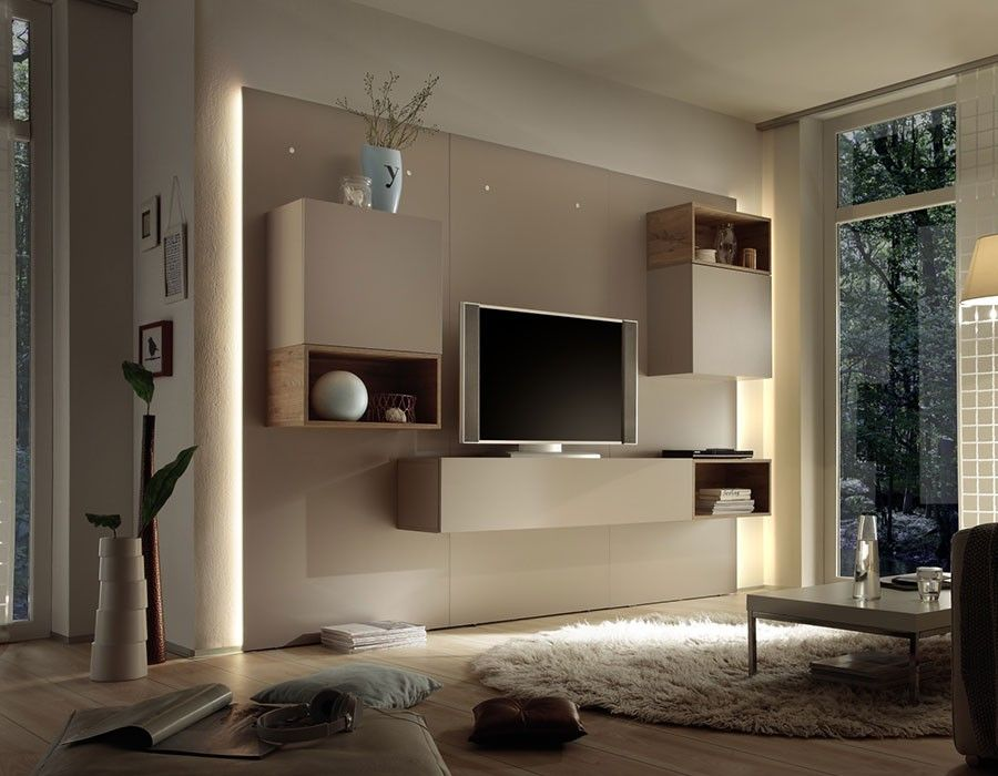 ensemble meuble tv lumineux laqu cr me moderne moira. Black Bedroom Furniture Sets. Home Design Ideas