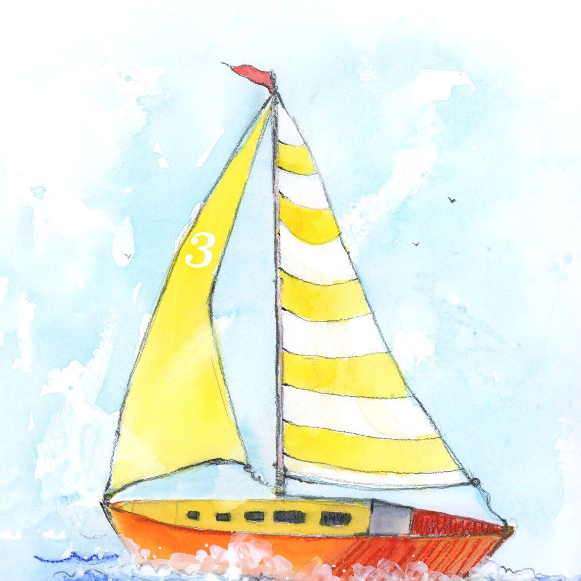 This cute little Sailboat art print with yellow striped sails will ...