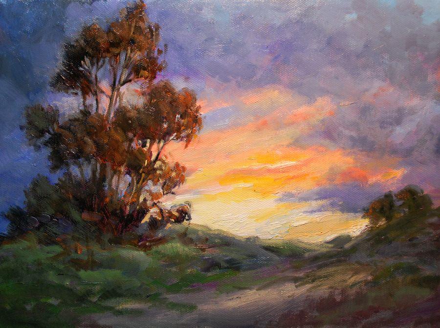 Eucalyptus Sunset Painting California Impressionist Landscape Sunset Painting By Karen Winters Sunset Painting Painting Impressionist Landscape