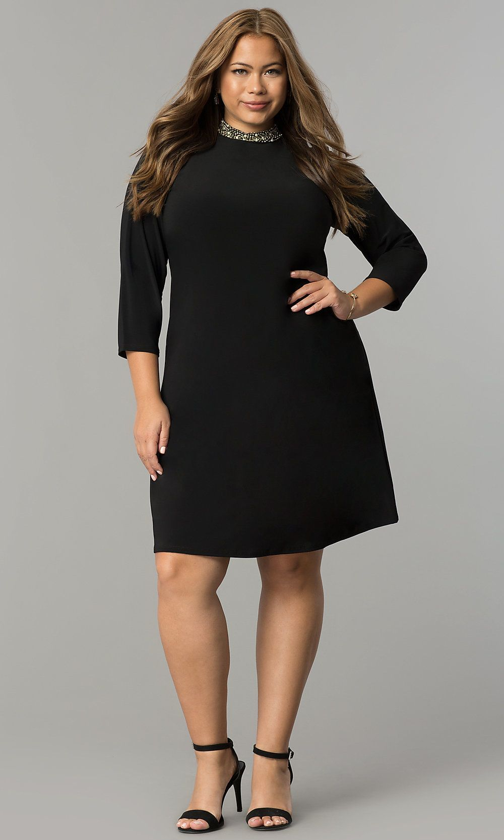 Short High-Neck Black Holiday Plus-Size Dress in 2019 ...
