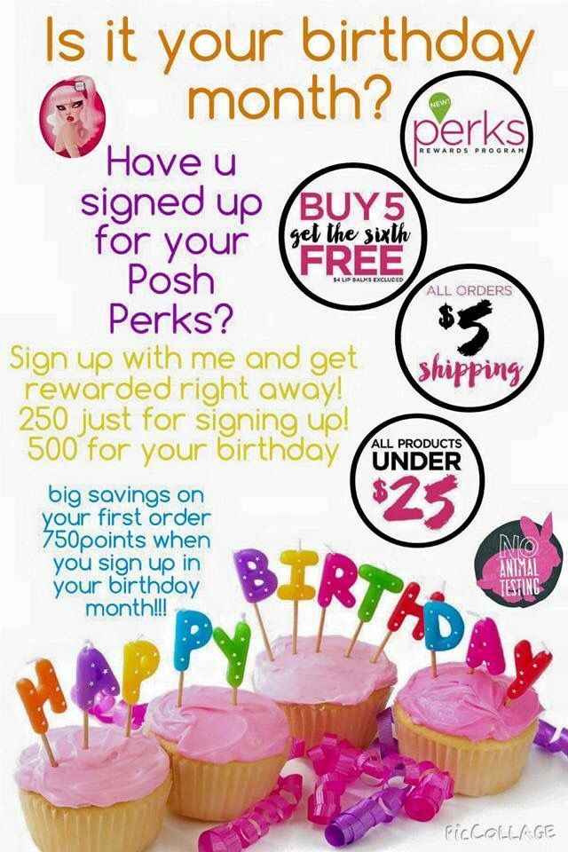 Sign up for Perfectly Posh's Reward Program and get 500 FREE perks for your birthday! Sign up here---> https://poshedbyjody.po.sh/