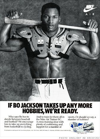 An Ad Of The Infamous And One Of The Most Talented Athletic Athletes Of All Time Bo Jackson In A Nike Ad Promoting His Caree Nike Ad Bo Jackson Sports Pictures