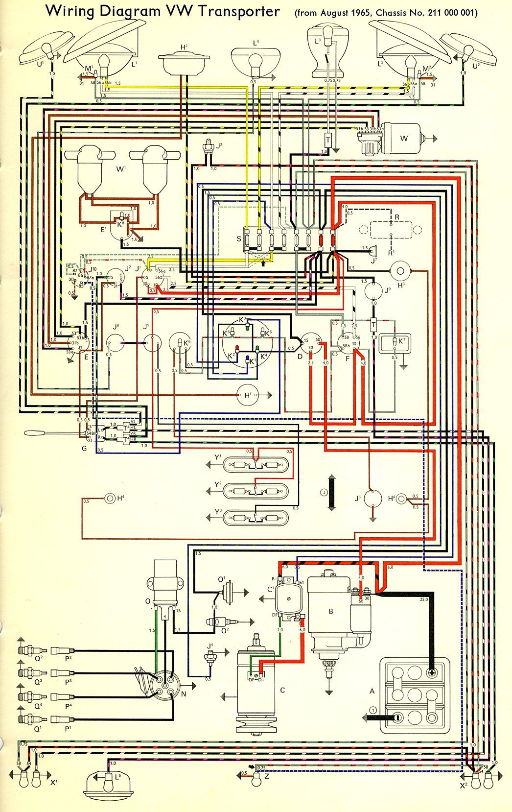 Vw Wire Diagram Wiring Schematic Diagrams One Transporter The Samba Bay Pride Volkswagen Alternator Schematics