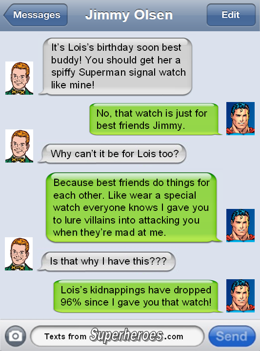 Texts From Superheroes : Photo ibartstar: LMAO, he wrong for doing Jimmy like that.