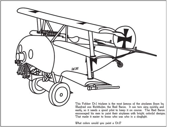 Coloring Page Of The Red Baron S Tri Plane
