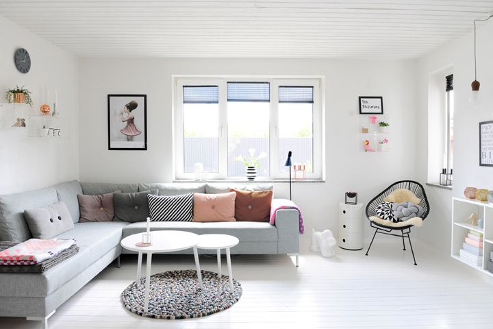 Una casa en gris y rosa pastel - Decorar mi casa Living rooms