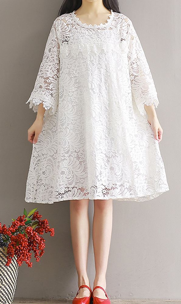 Women Loose Fit Over Plus Size Lace Flower White Dress Party