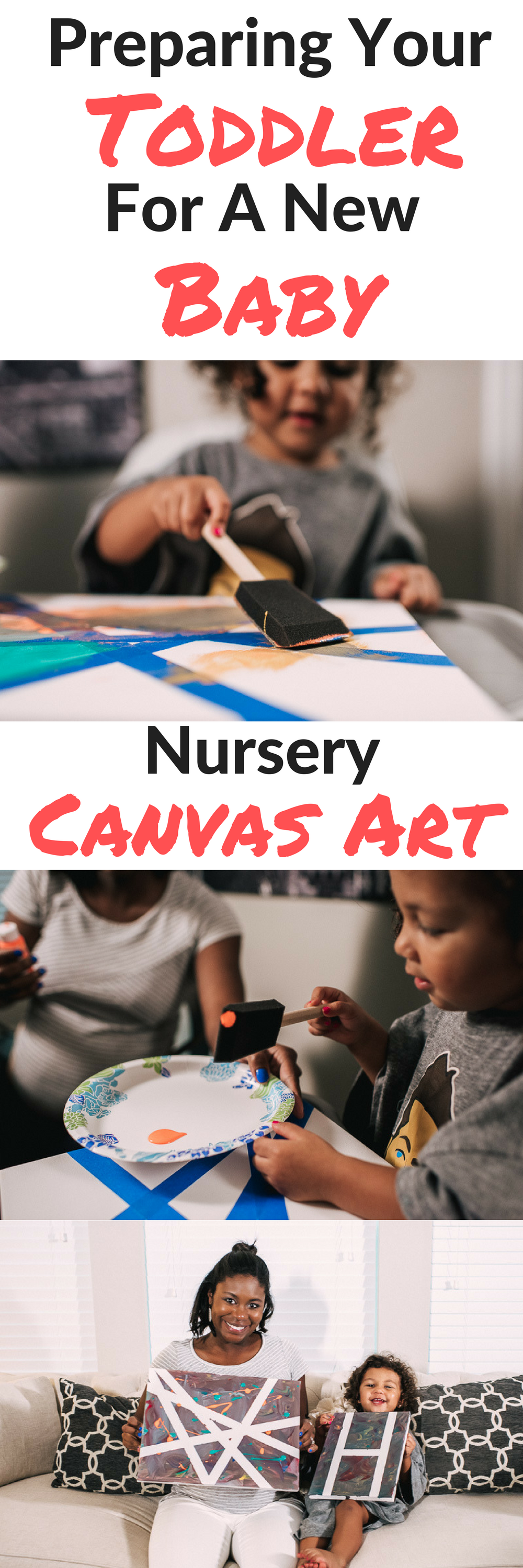 Prepare your toddler for a new baby by allowing them to contribute to the new baby's room! Tutorial on how to make nursery canvas art with your toddler while minimizing the mess with Huggies one and done wipes #ThinkOutsideTheWipe [ad]