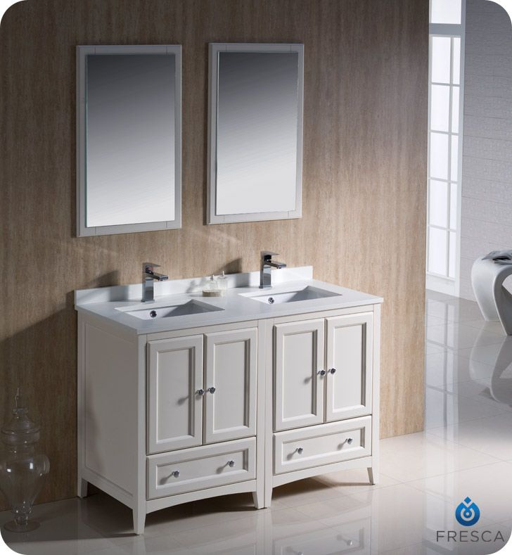 Fresca Oxford 48 Traditional Double Sink Bathroom Vanity Antique
