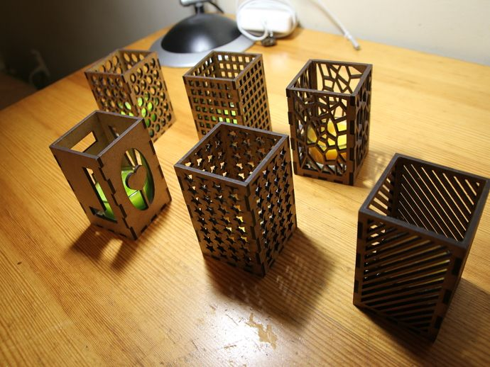 Laser cut candle holders by antpgomes thingiverse for Cardboard candle holders