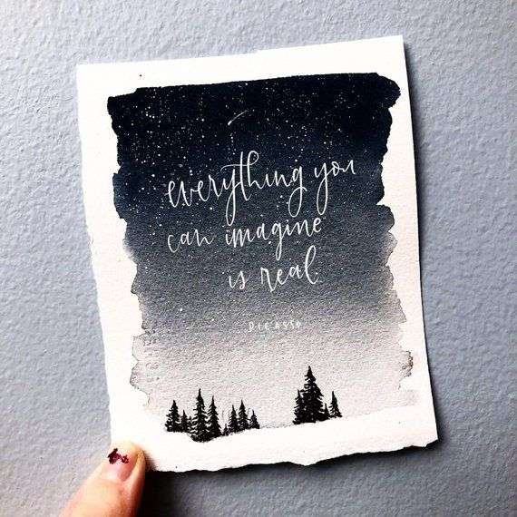 Watercolor Landscape Painting  Night sky painting  optional custom quote  forest painting Watercolor Landscape Painting  Night sky painting  optional custom quote  forest...