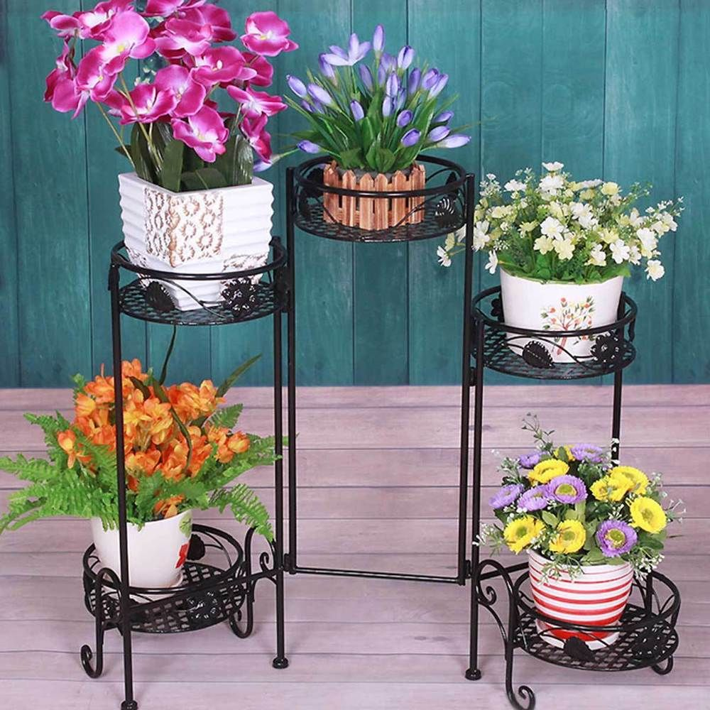 Folding 5 Tier Metal Plant Planter Flower Pot Stand Indoor