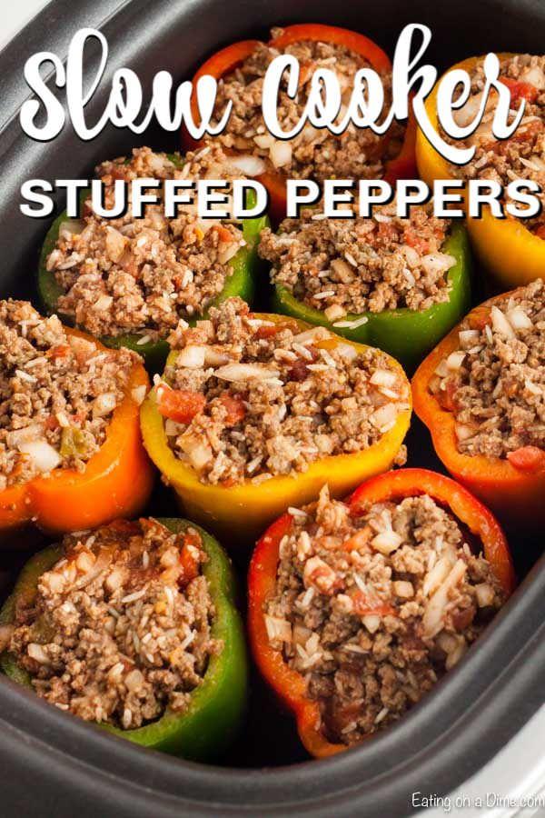 Crock Pot Stuffed Peppers Recipe Stuffed Peppers Crock Pot Recipe Recipe In 2020 Crockpot Stuffed Peppers Stuffed Peppers Chicken Crockpot Recipes