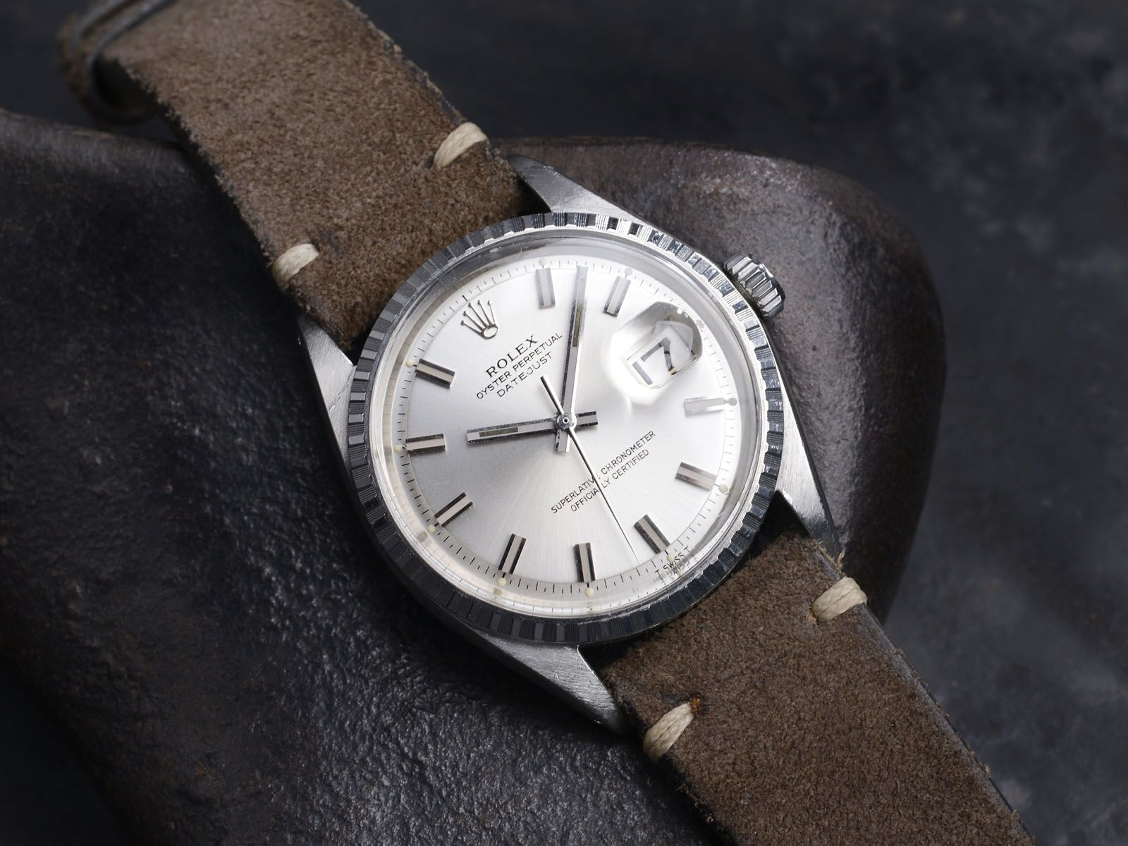52e1b984f0e 1970 Rolex 1603 Datejust with lovely suede strap.