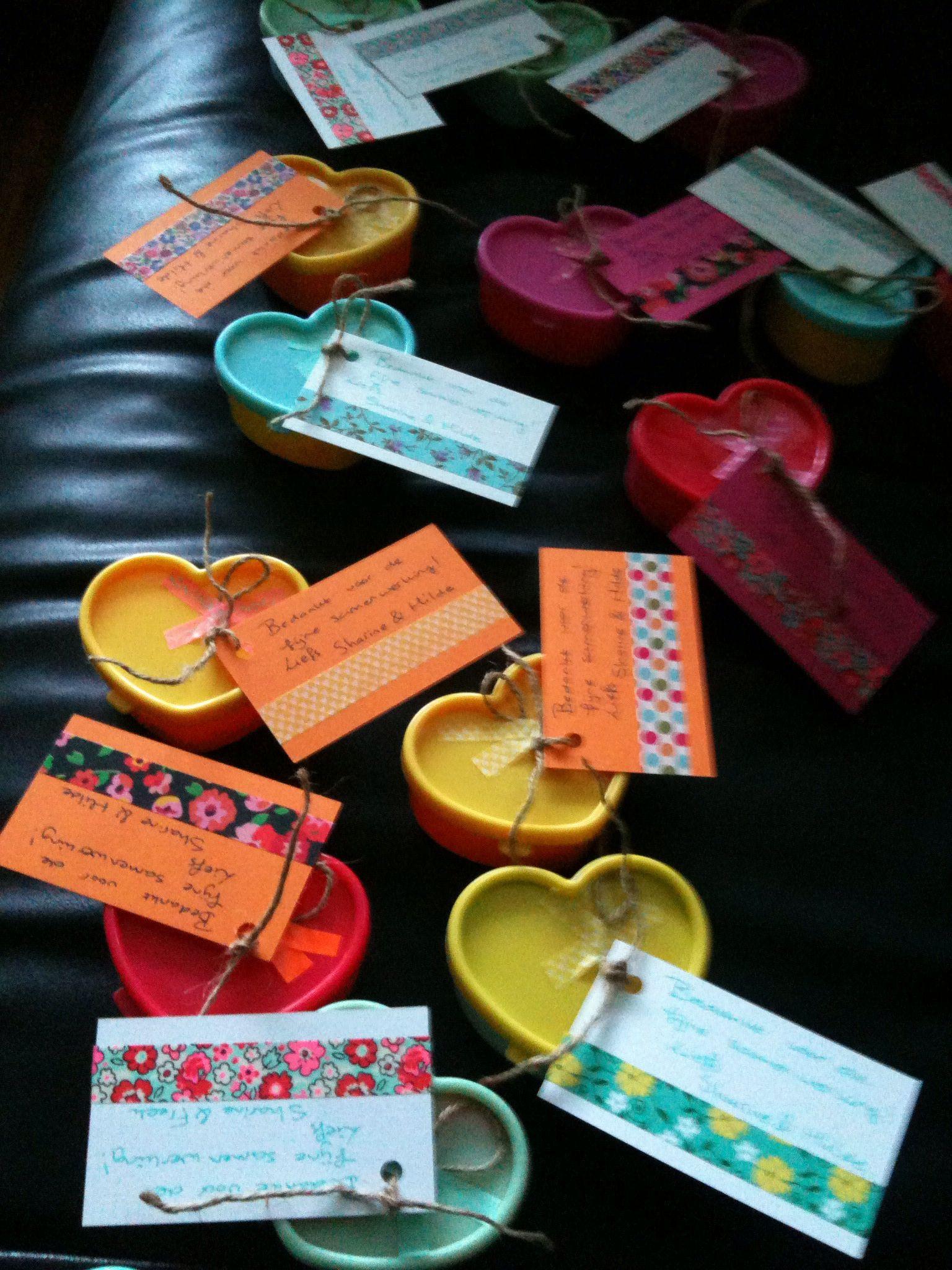 Kleine doosjes van de action gebruikt als afscheidscadeautjes.