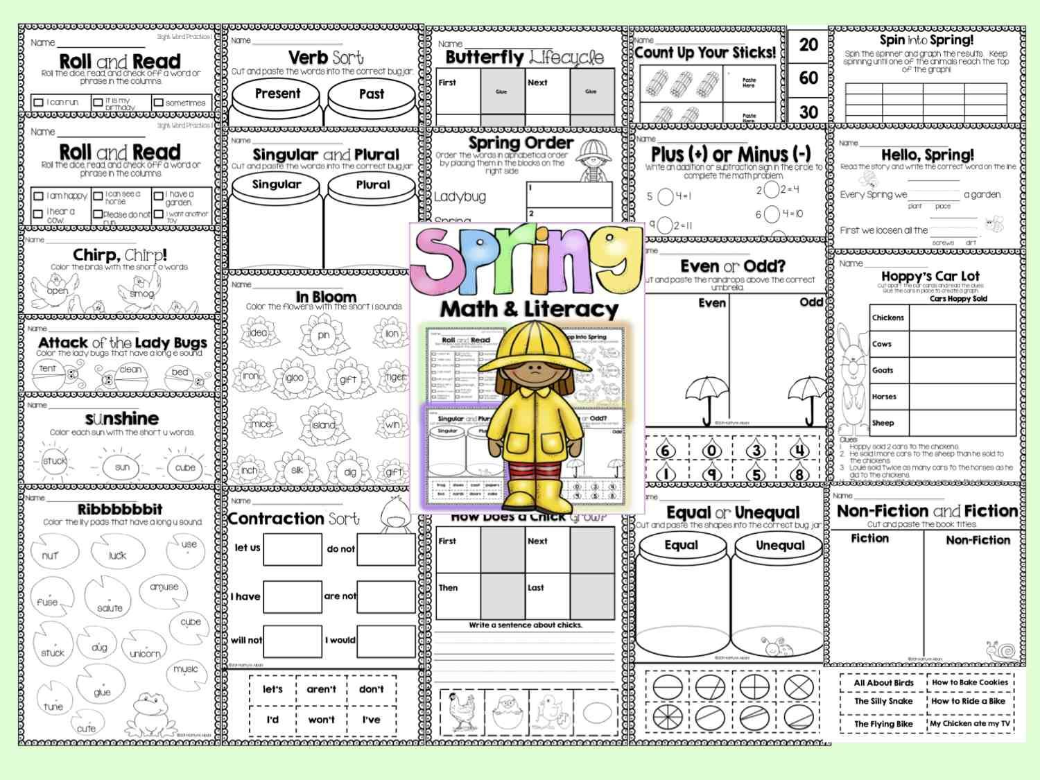 Spring Math And Literacy Activity Pack [First Grade