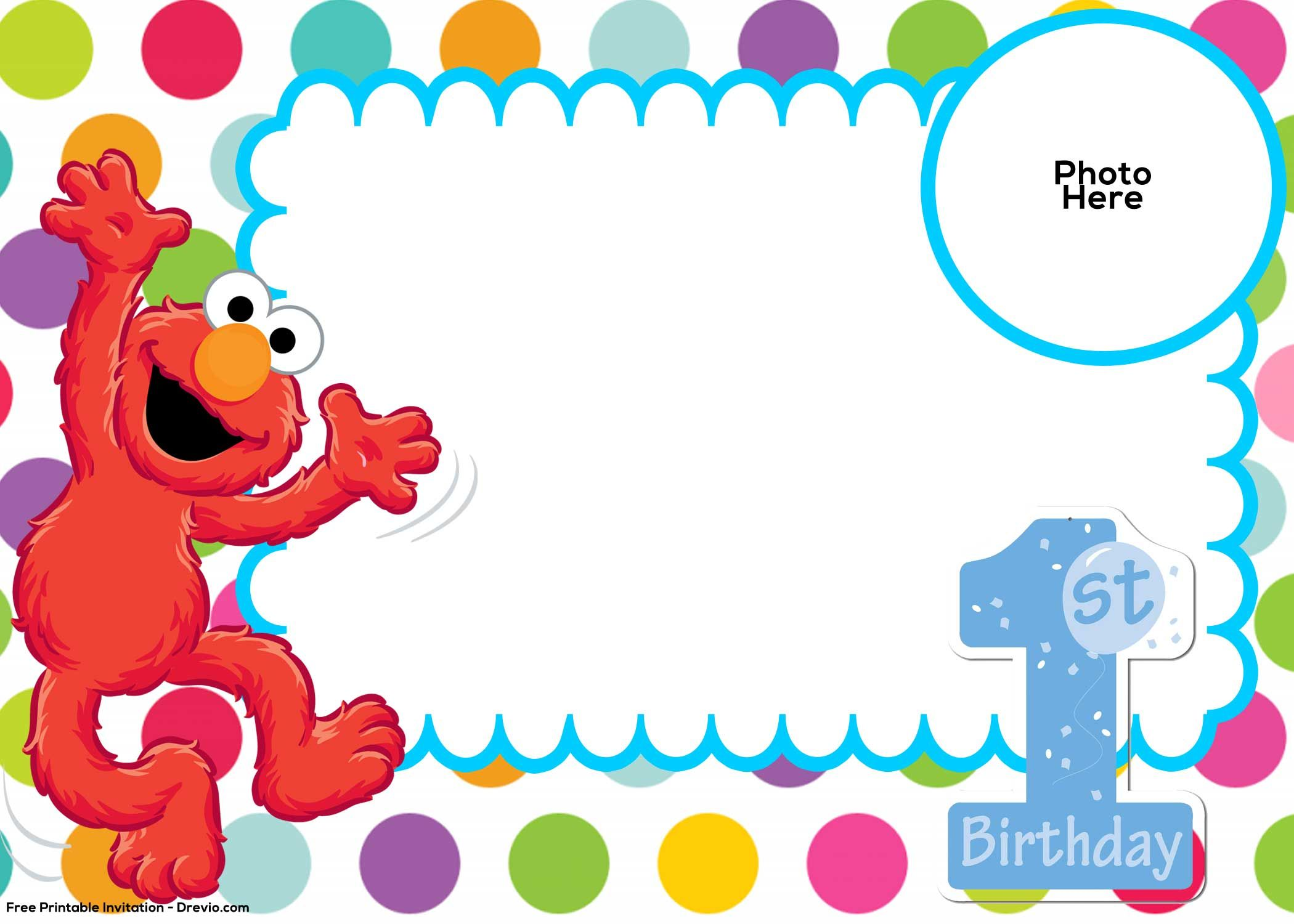 Awesome Free Sesame Street 1st Birthday Invitation Template