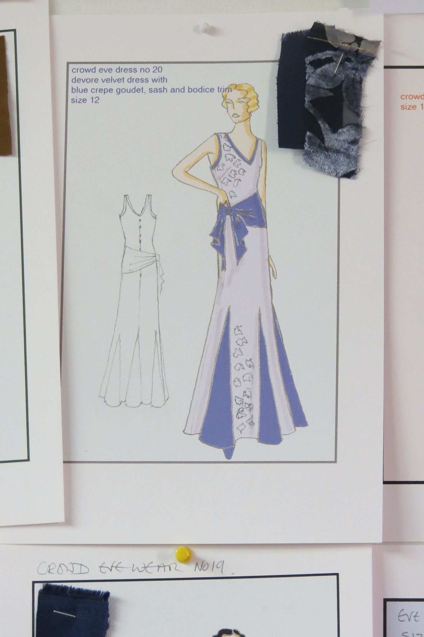 Fabric sample and evening dress sketch from Indian Summers Costume Designer Nic Ede | Courtesy of Rebecca Eaton for MASTERPIECE