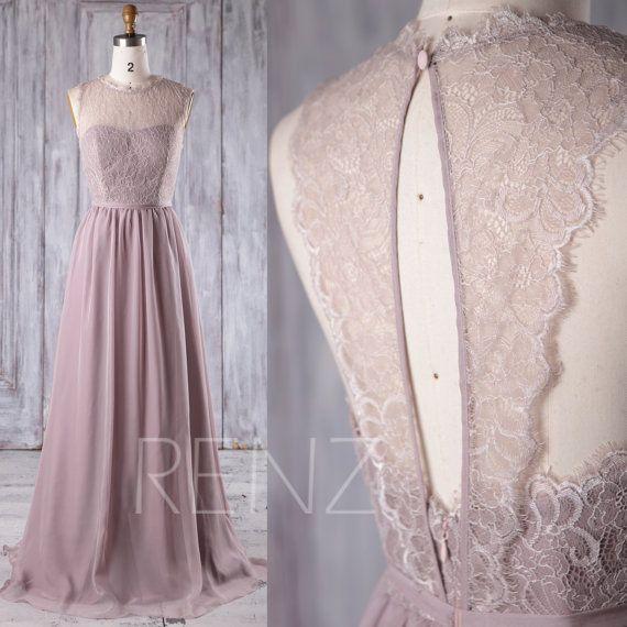 Bridesmaid Dress Rose Gray Chiffon Dress Wedding Dress Illusion Sweetheart Prom Dress Key Hole Back Lace Maxi Dress A-Line Party Dress(L229) – Traum-Hochzeit