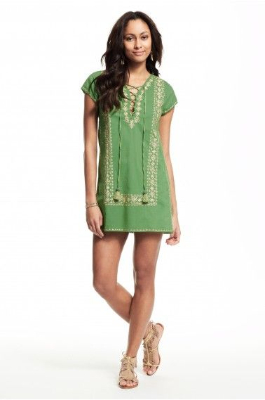 Roindra Embroidered Lace Up Dress