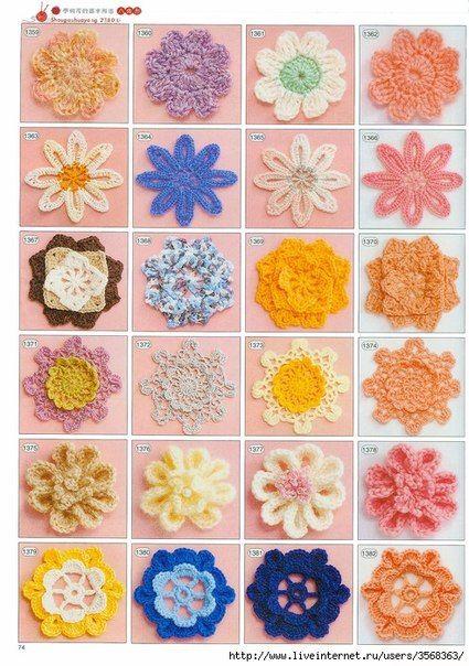 #crochet, charts for every flower, lots and lots of free patterns, #haken, gratis patroon (Schema) voor iedere bloem die je maar kunt bedenken!