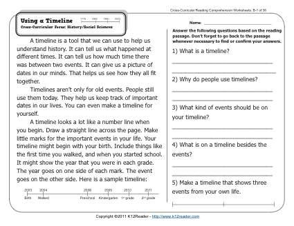 Using A Timeline Reading Comprehension Activities