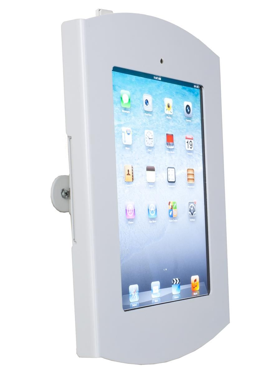 Ipad Wall Mount Locking Enclosure W Hidden Home Cc Reader Compatible White Ipad Wall Mount Wall Mount Wall