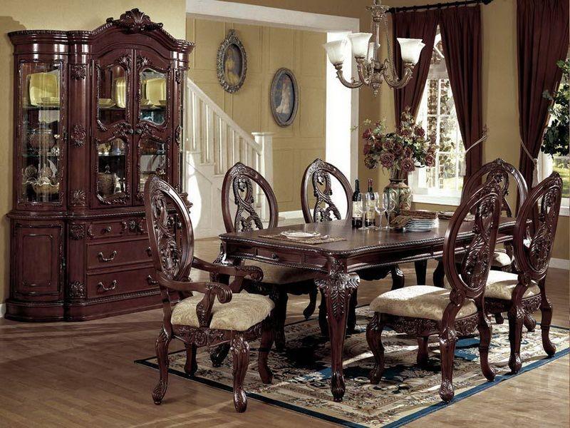 Mcferran Home Furnishings  D8401 7 Piece Dining Room Set  D8401 Interesting Antiques Dining Room Sets Inspiration Design