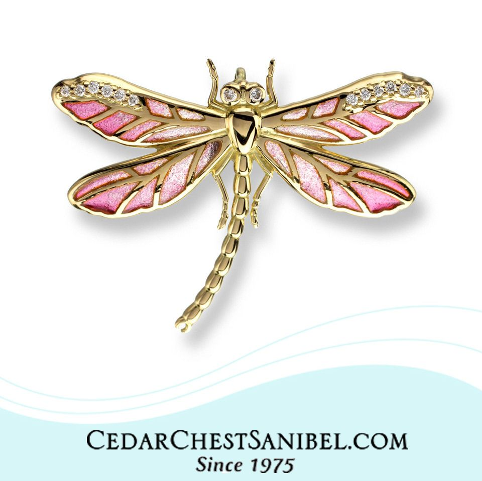 A little holiday bling! Plique-a-Jour on 18 Karat Gold Dragonfly Pendant accented with diamonds