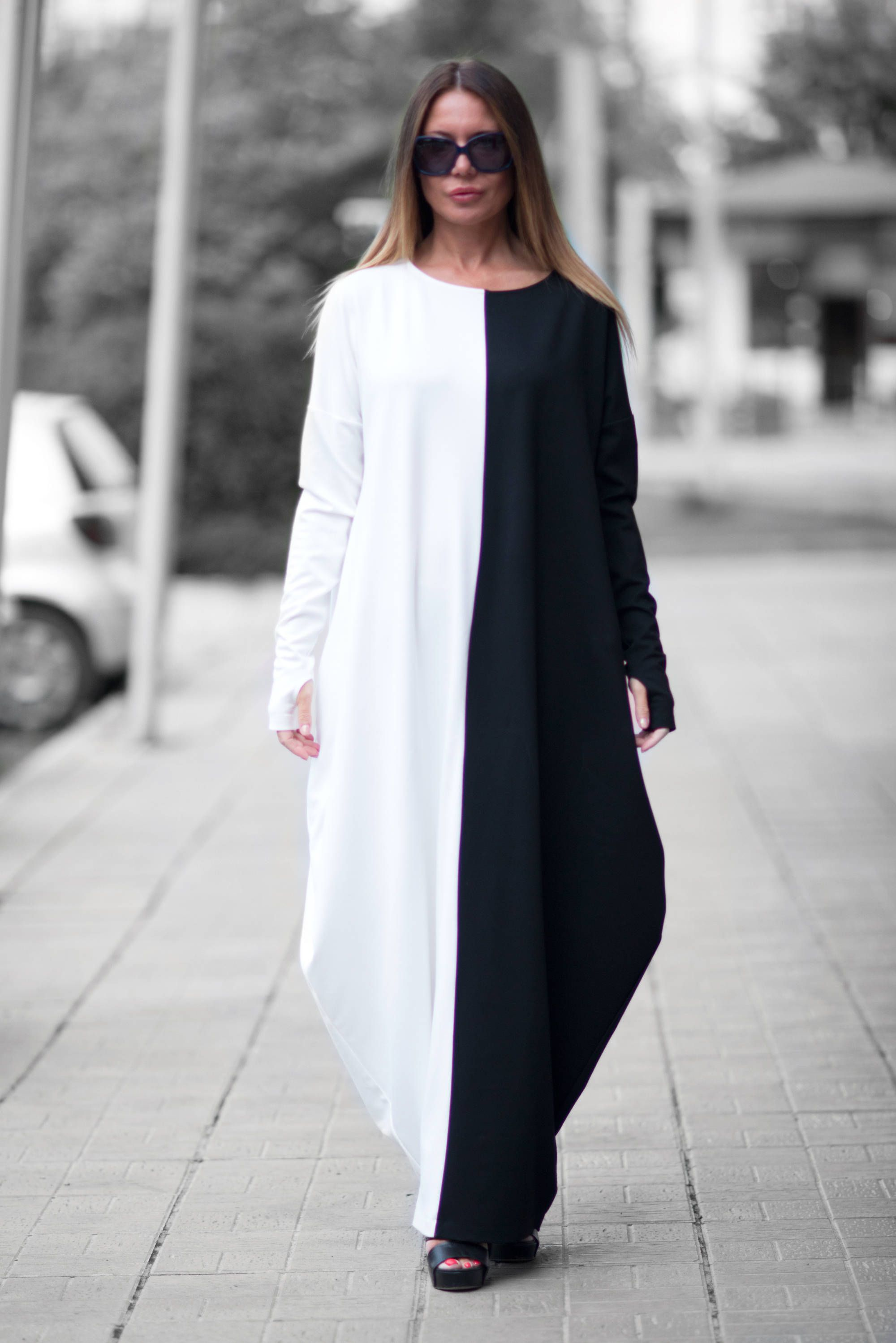 Autumn black and white maxi dress woman plus size dress long dress