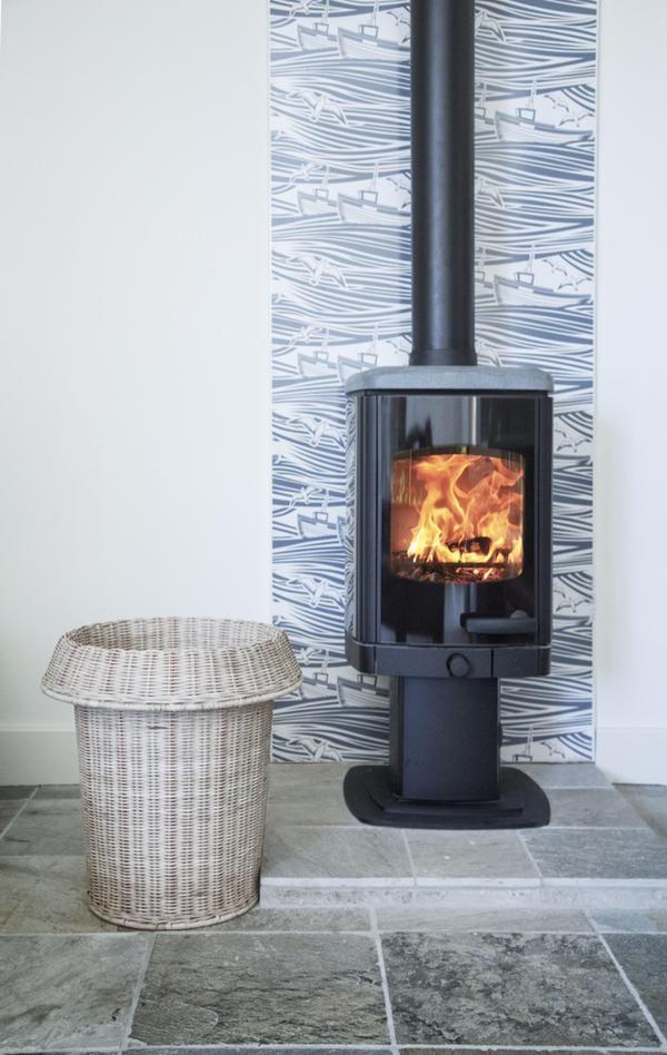 A Charnwood Tor Pico With Vlaze Heatshield Wood Stove Wood Stove Wall Freestanding Fireplace