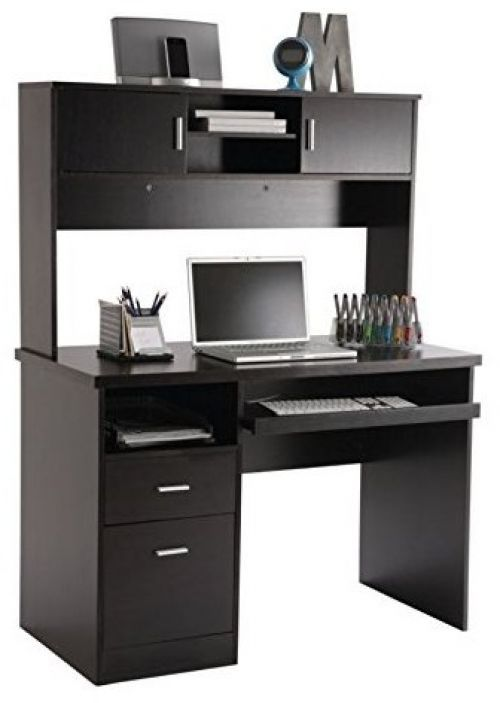 Home Office Furniture Laptop Computer Desk Hutch Espresso Table Storage Student