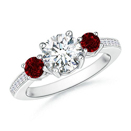 Angara Platinum Prong Set Ruby Three Stone Engagement Ring with Round Diamond oJwDM9fOsQ