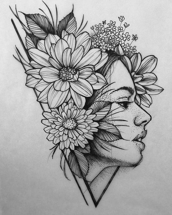 """David Mushaney on Instagram: """"Drawing I did today! Would really like to tattoo it! Contact through www.DMTattoos.com #tattoos #floraltattoo #tattoodrawing #portraitattoo…"""""""