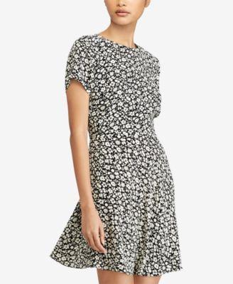 Polo Ralph Lauren Floral-Print Crepe Dress - Brown Cream 2 ... dcee953835f