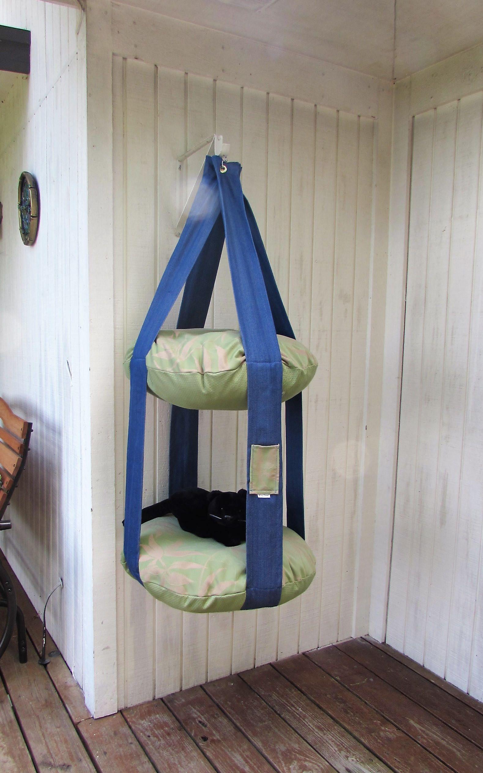 Outdoor Cat Bed, Denim, Cactus Green U0026 Resort Palm Double Tier Kitty Cloud  Cat Bed, Hanging Cat Bed, Pet Furniture, Cat Tree, Catio