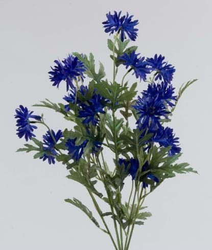 Direct Floral 21 Inch Dark Blue Cornflower Bush X 7 Silk Flowers Wedding Centrepiece Bouquet Floral Supplies Wholesale