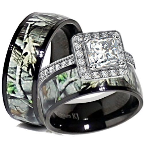 his and her camo wedding rings his amp black titanium camo sterling silver engagement 4805
