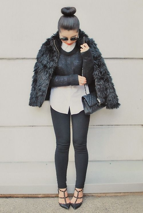 Women's Black Fur Jacket, Black Cropped Sweater, White Dress Shirt ...