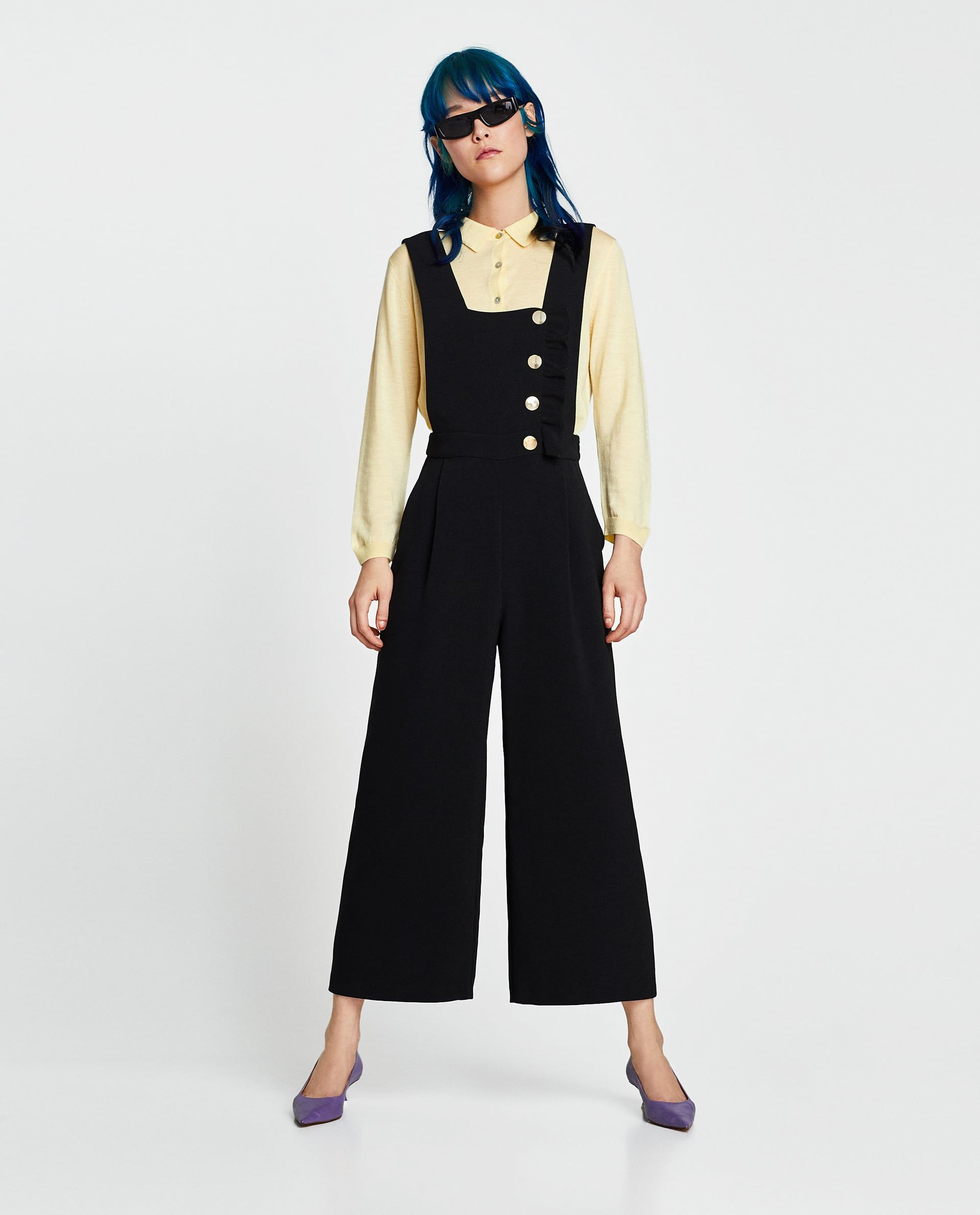 7a3f3218151 Image 1 of DUNGAREES WITH BUTTONS AND RUFFLE TRIM from Zara