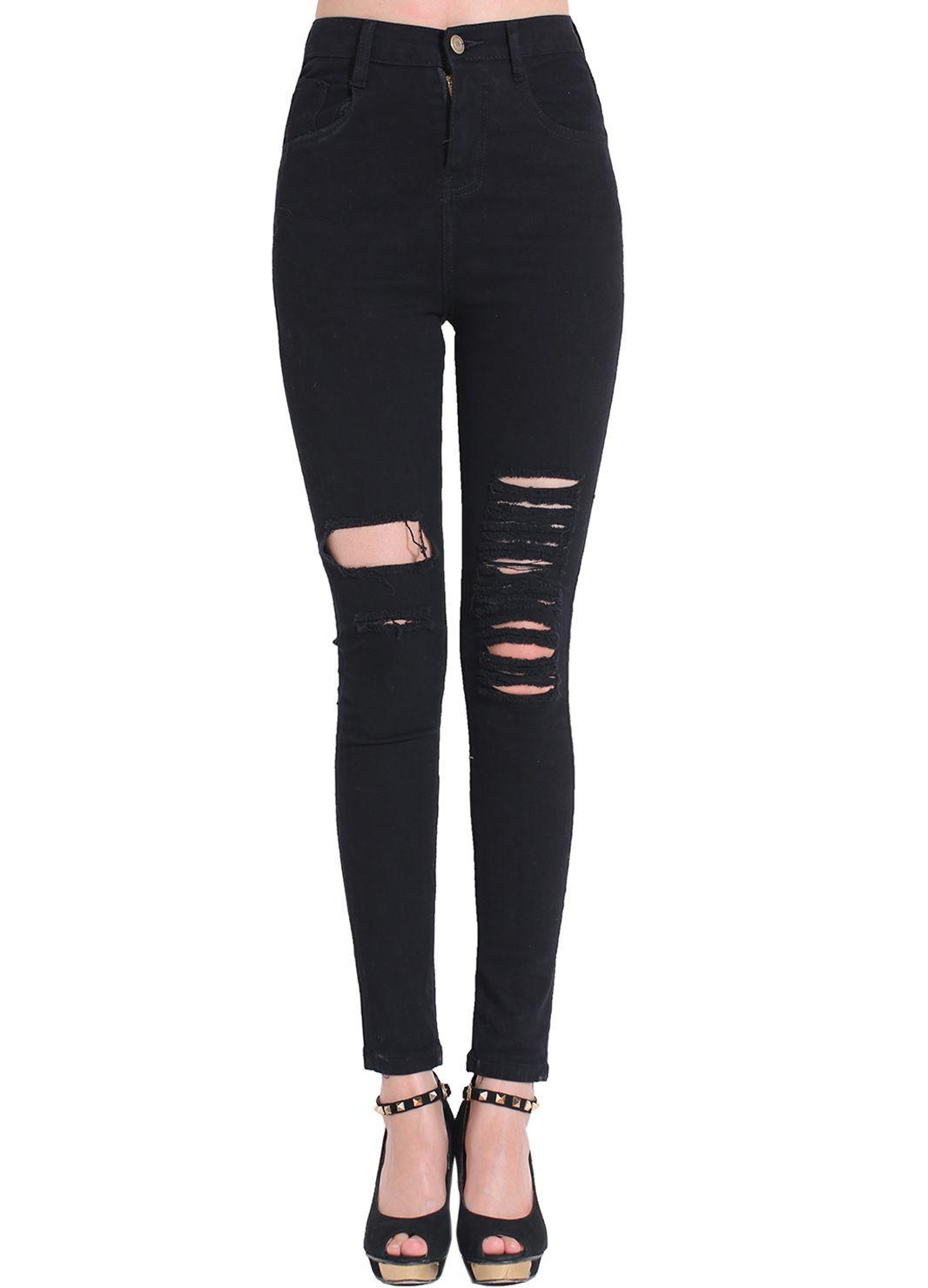 615a3337ac Pantalones vaqueros con rotos-negro 15.02