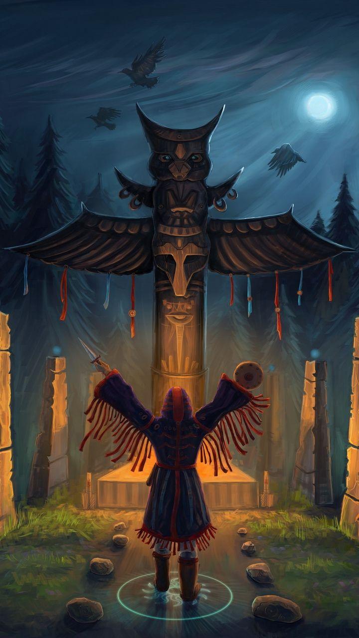 Скачать 720x1280 ритуал, тотем, сова обои, картинки ...