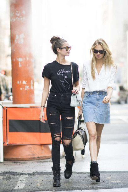 T-shirt  tumblr black black jeans jeans ripped jeans black ripped jeans  boots black dress flat boots fe2c486d4d