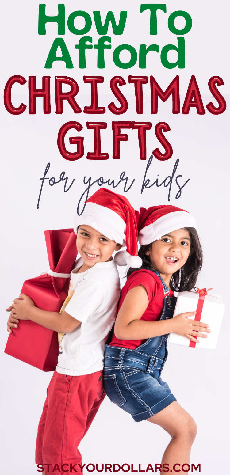 If you don't know how to afford Christmas this year but need to get gifts for your kids, check out this post. It will help you figure out how many gifts to get kids for Christmas and how to limit Christmas gifts for kids. It will also help you see how you can have a beautiful no present Christmas. If you need holiday money saving tips while celebrating Christmas with kids, you'll get the advice you need here. #Christmasgifts #Christmaswithkids #parenting #stackyourdollars #frugalliving #holiday