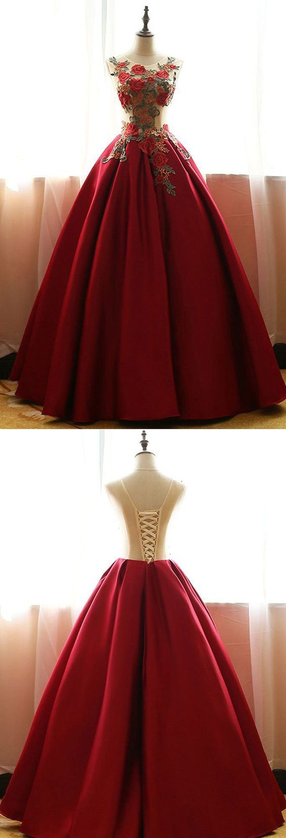 Red quinceanera dressessatin prom dresses with flowersball gown