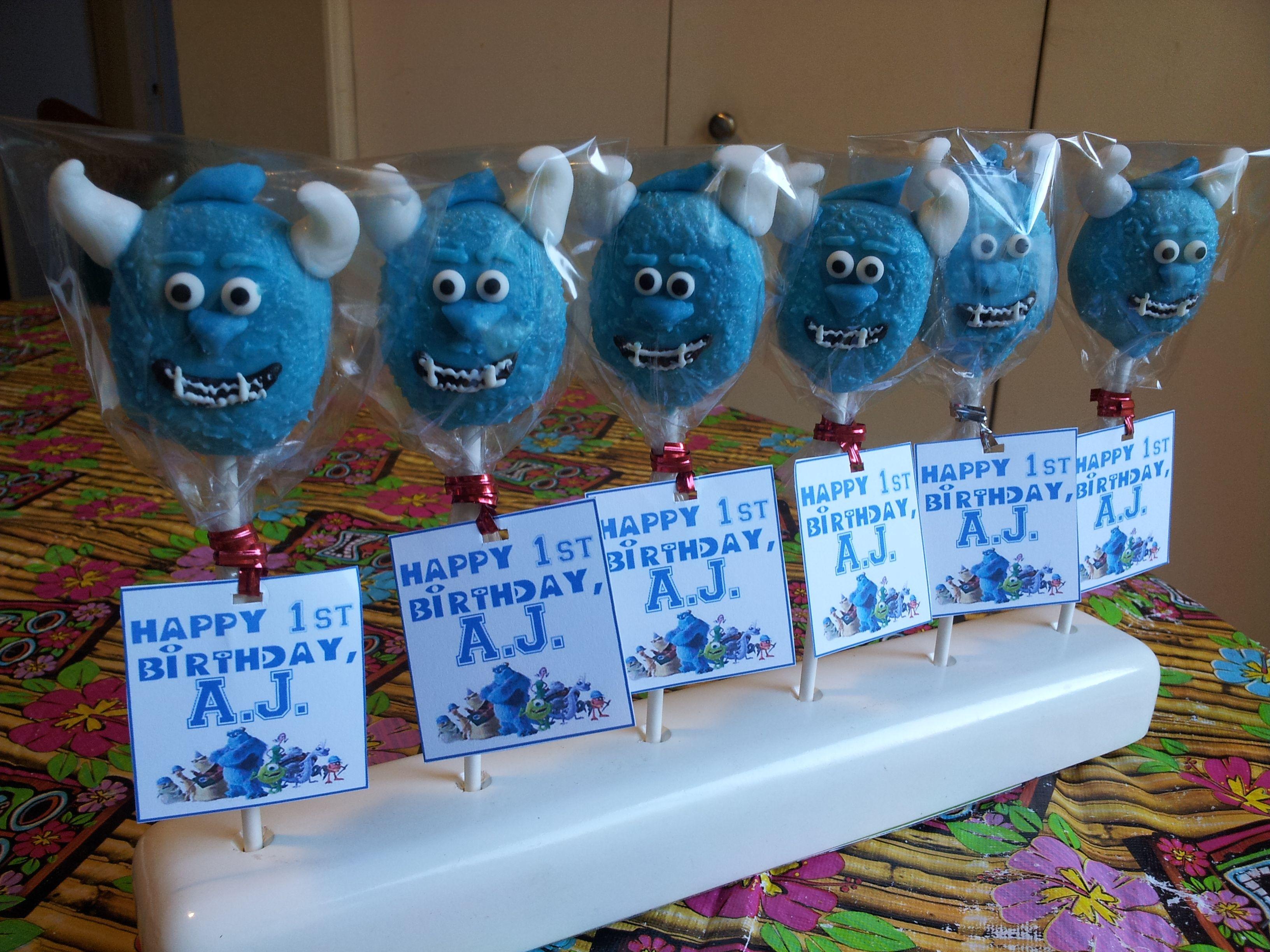 Monsters Inc Cake Pops Mike Waszowski Cake Pops Sulley Cake Pops