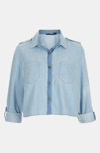 Topshop Crop Chambray Shirt | Nordstrom